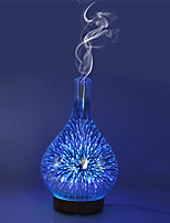 abordables -3D feux d'artifice vase en verre forme humidificateur d'air avec LED veilleuse arôme diffuseur d'huile essentielle brumisateur humidificateur à ultrasons