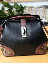 cheap -Women's Zipper PU Top Handle Bag Solid Color Black / Brown / Red