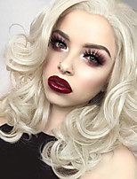 cheap -Synthetic Lace Front Wig Wavy Middle Part Lace Front Wig Short Light Blonde Synthetic Hair 10-16 inch Women's Cosplay Soft Adjustable Blonde