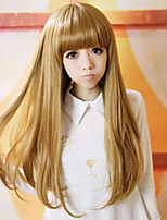 cheap -Synthetic Wig kinky Straight Neat Bang Wig Long Yellow Synthetic Hair 25 inch Women's Best Quality Yellow