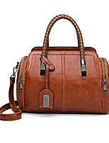 cheap -Women's Zipper PU Top Handle Bag Solid Color Black / Maroon / Red Brown