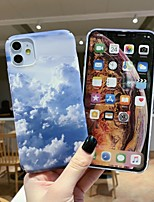 cheap -Case for Apple scene map iPhone 11 X XS XR XS Max 8 Blue sky and white clouds pattern fine frosted PC material water sticker all-inclusive mobile phone case