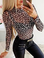 cheap -Women's Daily Basic Blouse - Leopard Black
