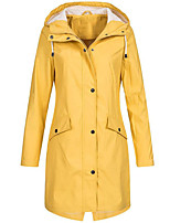 cheap -Women's Daily Fall & Winter Long Trench Coat, Solid Colored Hooded Long Sleeve Polyester / Spandex Black / Blushing Pink / Yellow