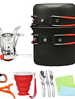 cheap -Camping Cookware Mess Kit Set Portable Wearable Durable for 1 - 2 person Ferroalloy Outdoor Camping / Hiking Traveling Picnic Black