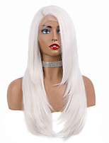 cheap -Synthetic Lace Front Wig Straight Natural Straight Side Part Free Part Glueless Lace Front Lace Front Wig Long Medium Length Creamy-white Synthetic Hair 16-20 inch Women's Soft New Design Party White