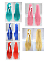 cheap -Synthetic Wig Curly Asymmetrical Wig Long Very Long Lake Blue fluorescent green Pink+Red Red Yellow Synthetic Hair 39 inch Women's Best Quality Red Blue