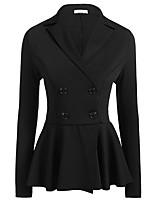 abordables -Femme Blazer Col en V Polyester Noir / Vin / Blanche