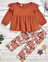 cheap -Kids Girls' Basic Floral Long Sleeve Clothing Set Orange