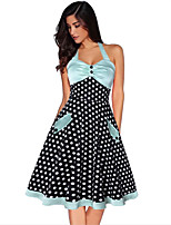 cheap -The Marvelous Mrs. Maisel Retro Vintage 1950s Wasp-Waisted Dress Women's Spandex Cotton Costume LightBlue Vintage Cosplay Party Daily Wear Sleeveless Knee Length