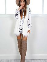 cheap -Women's Daily Regular Coat, Geometric Rolled collar Long Sleeve Polyester White