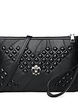 cheap -Women's Zipper PU Crossbody Bag Solid Color Black