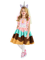 cheap -Princess Unicorn Dress Girls' Movie Cosplay A-Line Slip Cosplay Purple / Green / Pink Dress Halloween Carnival Masquerade Polyester