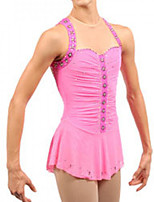 cheap -Figure Skating Dress Women's Girls' Ice Skating Dress Pink Spandex High Elasticity Training Competition Skating Wear Handmade Patchwork Crystal / Rhinestone Sleeveless Ice Skating Figure Skating