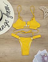 cheap -Women's Basic Black White Orange Triangle Cheeky Bikini Swimwear - Polka Dot Floral Solid Colored Lace up S M L Black