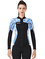 cheap -Dive&Sail Women's Full Wetsuit 3mm CR Neoprene Diving Suit Top Anatomic Design Long Sleeve Back Zip Patchwork Autumn / Fall Spring Winter / High Elasticity