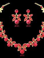 cheap -Women's Pearl Hoop Earrings Choker Necklace Flower Butterfly Earrings Jewelry Silver / Red For Wedding Party 1 set