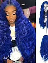 cheap -Synthetic Lace Front Wig Loose Wave Middle Part Lace Front Wig Long Royal Blue Synthetic Hair 18-26 inch Women's Heat Resistant Synthetic Easy dressing Blue / Natural Hairline