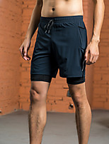 cheap -Men's Running Shorts 2 in 1 Split Sports Shorts Running Fitness Jogging Breathable Quick Dry Soft Solid Colored Black Dark Blue Gray / Stretchy