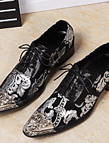 cheap -Men's Leather Shoes Nappa Leather Spring & Summer / Fall & Winter Casual / British Oxfords Non-slipping Black / Party & Evening