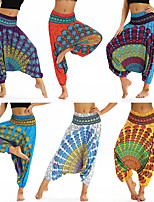 cheap -Women's Yoga Pants Harem Baggy Print Amethyst Green / Yellow White Orange Blue Dance Fitness Gym Workout Bloomers Sport Activewear Lightweight Breathable Quick Dry Soft Stretchy Loose