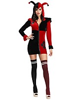 cheap -Clown Dress Cosplay Costume Adults' Women's Cosplay Halloween Halloween Festival / Holiday Plush Fabric Red Women's Carnival Costumes