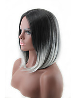 cheap -Synthetic Wig Straight kinky Straight Asymmetrical Wig Medium Length Grey Synthetic Hair 16 inch Women's Best Quality Black Gray