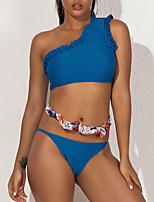 cheap -Women's Basic Blue High Neck Cheeky Briefs Tankini Swimwear - Solid Colored Ruffle S M L Blue