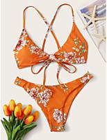cheap -Women's Basic Orange Halter Cheeky Tankini Swimwear - Floral Backless Bow Criss Cross S M L Orange