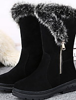 cheap -Women's Boots Flat Heel Round Toe Suede Booties / Ankle Boots Winter Black / Red