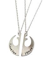 cheap -Men's Women's Silver Pendant Necklace Geometrical Alphabet Shape Romantic Chrome Silver 34 cm Necklace Jewelry 2pcs For Engagement Daily Promise