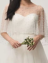 cheap -Half Sleeve Tulle Wedding Women's Wrap With Beading Capes