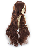 cheap -Synthetic Wig Curly Asymmetrical Wig Long Light Brown Synthetic Hair 31 inch Women's Best Quality Black