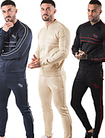 cheap -Men's Side-Stripe 2-Piece Cotton Tracksuit Sweatsuit 2pcs Winter Front Zipper Mandarin Collar Running Fitness Jogging Sportswear Stripes Thermal / Warm Breathable Soft Athletic Clothing Set Long