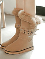 cheap -Women's Boots Flat Heel Round Toe Suede Mid-Calf Boots Fall & Winter Black / Almond / Gray