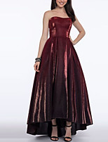 cheap -A-Line Strapless Asymmetrical Velvet Elegant Prom / Formal Evening Dress 2020 with Pleats