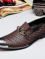 cheap -Men's Leather Shoes Nappa Leather Spring & Summer / Fall & Winter Casual / British Loafers & Slip-Ons Non-slipping Wine / Party & Evening