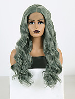 cheap -Synthetic Lace Front Wig Wavy Middle Part Lace Front Wig Long Green Synthetic Hair 18-26 inch Women's Cosplay Soft Adjustable Green