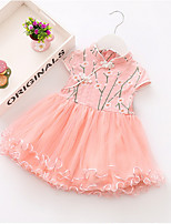 cheap -Toddler Girls' Solid Colored Short Sleeve Above Knee Dress Blushing Pink