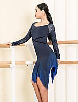 cheap -Latin Dance Dresses Women's Performance Spandex Tassel Long Sleeve Dress