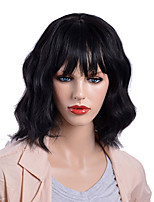 cheap -Synthetic Wig Curly Asymmetrical Wig Medium Length Natural Black Synthetic Hair 15 inch Women's Best Quality Black