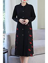 cheap -Women's Daily Fall & Winter Long Coat, Geometric V Neck Long Sleeve Polyester White / Red