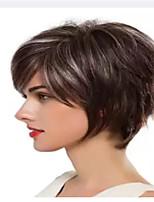 abordables -Perruque Synthétique Boucle lâche Coupe Asymétrique Perruque Court Marron Cheveux Synthétiques 6 pouce Femme Meilleure qualité Blond A Ombre