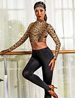 abordables -Danse latine Hauts Femme Utilisation Fibre de Lait Ruché Manches Longues Haut