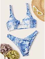 cheap -Women's Basic Light Blue Halter Cheeky Tankini Swimwear - Camo / Camouflage Backless S M L Light Blue