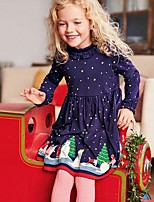 abordables -Enfants Fille Points Polka Robe Bleu