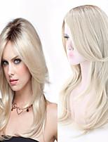 abordables -Perruque Synthétique Boucle lâche Coupe Asymétrique Perruque Long Ombre Blonde Cheveux Synthétiques 27 pouce Femme Meilleure qualité Blond A Ombre