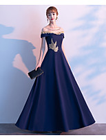 cheap -A-Line Jewel Neck Floor Length Satin / Tulle / Jersey Elegant Prom / Formal Evening / Wedding Guest Dress 2020 with