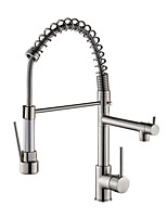 cheap -Kitchen faucet - Two Handles Two Holes Electroplated Pull-out / ­Pull-down / Tall / ­High Arc Centerset Contemporary Kitchen Taps