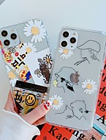 cheap -Case For Apple iPhone 11 / iPhone 11 Pro / iPhone 11 Pro Max Ultra-thin / Pattern Back Cover Transparent / Cartoon / Flower TPU